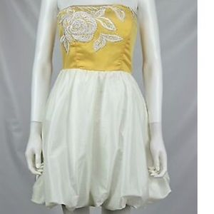 Betsey Johnson Yellow And White Evening gown